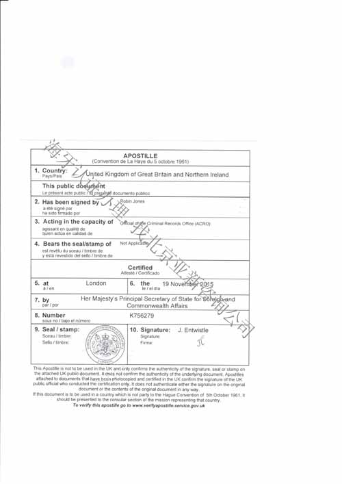 英国无犯罪记录证明海牙认证样本